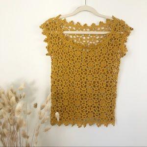 Boho Floral Goldenrod Crocheted Shirt